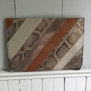Large Metallic Mossimo Clutch Orange and Silver